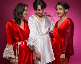 Ruby Red Luxurious Silk Lace Robes | Bridesmaids Robes, Kimono Robes, Bridesmaids gift, getting ready robes