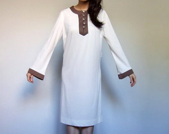 Ivory Tunic Dress 70s Hippie Long Sleeve Colorblock Simple Minimalist Boho Summer Beach Dress - Large L