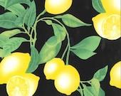 "20% OFF Lemon Print Black Cotton Sateen, Gertie by Gretchen Hirsch Fabric, 43"" wide, 1 yard"