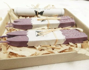 Natural Sealing  Wax  PALE LAVENDER Periwinkle color seal wax for stamps with wick Traditional mold,  plastic - free, non toxic