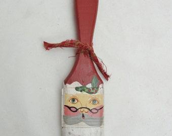 Santa paint brush ornament, santa on a paint brush