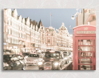 London Photograph on Canvas, Bright Night in Knightsbridge Gallery Wrapped Canvas, Twinkle Lights, Large Wall Art, Travel Photo