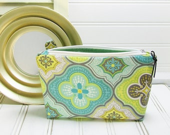 Zipper pouch - Makeup bag - small cosmetic bag - aqua yellow gray cosmetic pouch - small makeup bag
