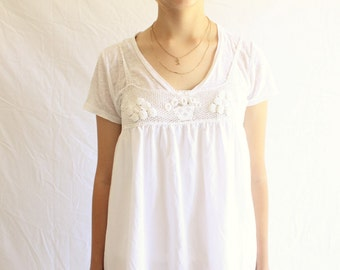 vintage white cotton crochet dress nightgown Edwardian