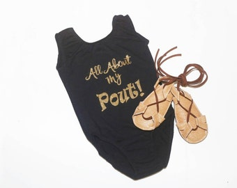 """Black """"All About My Pout"""" Leotard, baby leotard, toddler leotard, girl leotard, black leotard"""
