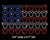 "9.6"" Mickey Mouse American flag 4th of July iron on rhinestone transfer for Disney bling applique patch"
