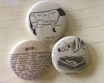 Barbecue Vintage Dictionary Magnet Set of 3