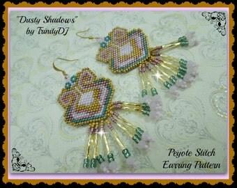 BP-PEY-102 - 2016 - 020 - Dusty Shadows Earrings - Peyote pattern, EarringsPattern, seed bead jewelry, beadweaving tutorial, beaded earrings