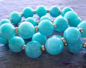 Gorgeous Blue Amazonite & 14K Gold Bead Necklace - Stunning Bright Blue Amazonite 12mm Beads and 14K Gold Rondelles - Absolute Elegance