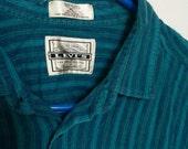 Levi's shirt striped blue green 1980s xl men normcore preppy eighties