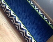 Baby changing pad cover navy chevron Lime