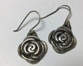 Sterling Silver 925 Rose Flower Pierced Earrings
