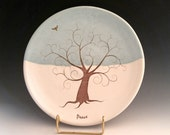 Serving Plate / Winter Themed / Tree of Life/ Hand Made/ Stoneware / Cookie Plate