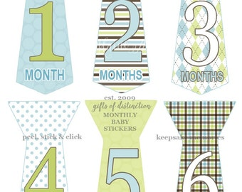 READY T0 SHIP SALE Baby Monthly Milestone Stickers Boy  Gift  Blue Green Brown  uncut  Tie