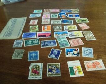 36 vintage Australian potage  stamps