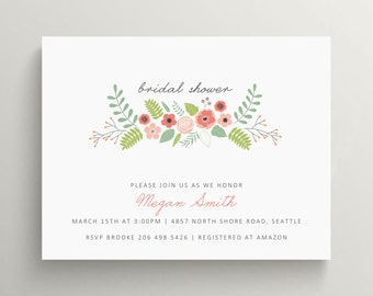 garden bridal shower invitation // couples shower // engagement party //tea party // flower // baby shower invitation // note