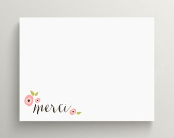 floral note card set // thank you note set // personal stationery // flowers // feminine // pink // simple // merci // french // bonjour