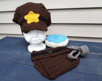 Police Photo Prop; Crochet Police Photo Prop; 3-6 month Police Photo Prop; Police Officer Hat; Police Officer Diaper Cover;Deputy Photo Prop