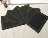 Victorian Photo Mat Frames...Wedding Table Numbers...Lot of 6 New Old Stock...Steampunk Midnight Black and Gold Mats...Lot #6