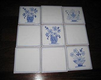 Cesto Azul 9 pc set Handmade Hand Painted Antiqua Tiles Blue Flower Baskets Lot 178