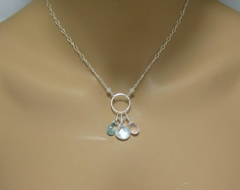 Rainbow Moonstone, Aquamarine and Rose Quartz Necklace in Sterling Silver