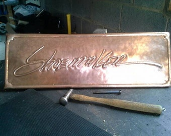 Hand Hammered Copper Plaque Business SIgn