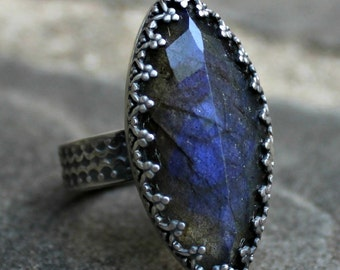 Labradorite Ring - Faceted Blue Labradorite Ring - Fancy Bezel Labradorite Ring - Blue Labradorite Marquis Sterling Silver Ring - US 8