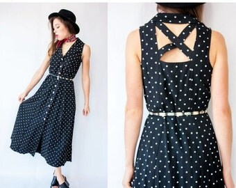 50% OFF SALE... 90's Vintage Black Polka Dot Open Back Dress / Criss Cross Back Shirt Dress / Sleeveless Fit and Flare Maxi Dress