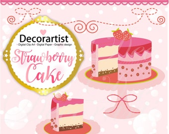 ON SALE cake clipart, Digital clipart , strawberry cake clipart, Instant Download