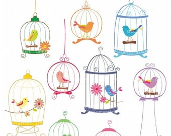 Bird Cages Clip Art _ Bird Cages Clipart,bird clip arts,9 birds and birdcages,invitations,card making,ON SALE