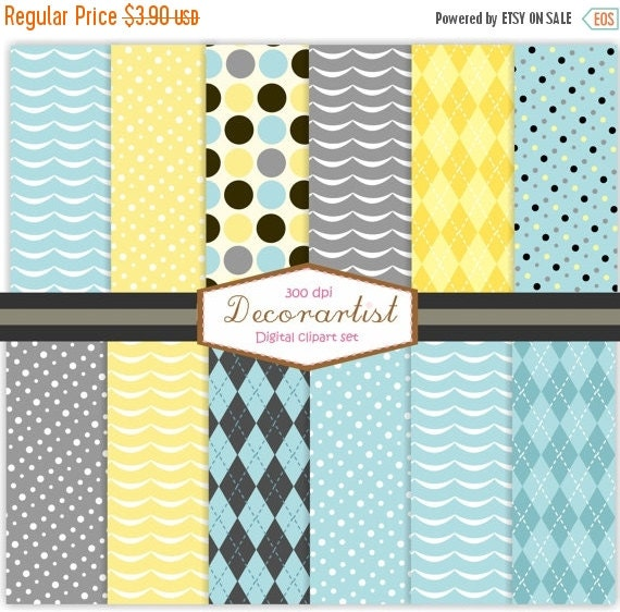 ON SALE Digital paper for all use, wave and polkadot CHIC No-78, 12 digital sheets, yellow, baby blue , grey