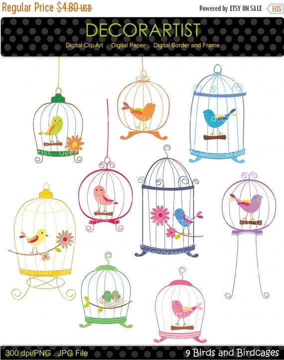 ON SALE INSTANT Download birdcage clipart, bird clipart , Digital clipart. birdcage, 9 birds and birdcages, invitations, card making