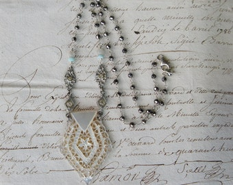 Antique Assemblage Vintage Revival Hand Carved Mother of Pearl Filigree Pendant Necklace with Rhinestones and Pyrite