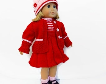 18 Inch Doll Clothes, Doll Outfit, Knit Doll Clothes, Red Dress, Fits American Girl Doll
