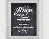 jenga wedding sign guest book - printable file - faux chalkboard wedding signage keepsake memories instant download wedding reception game