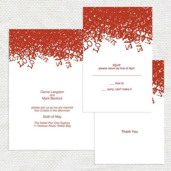 modern wedding invitation suite templates - printable download - budget friendly, mod, retro, red, bold, 1960s 1950s, typed, cheap diy party