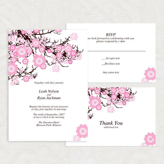 items similar to cherry blossom wedding invitation template printable diy download budget. Black Bedroom Furniture Sets. Home Design Ideas