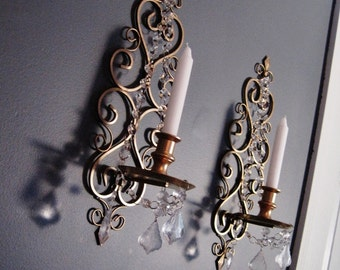 PAIR 2 Goldilocks Chic Scroll Candle Wall Sconces in Set of 2 MADE To ORDER