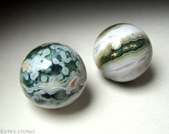 2 Small Orbicular / Ocean Jasper Polished Spheres // Sacral & Heart Chakra // Crystal Healing // Mineral Specimen