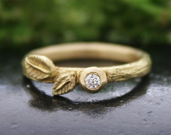 Diamond Twig Ring, Diamond Leaf Ring, 18k Gold, Wedding, Engagement Ring, Bezel, Bark Texture, Stacking Ring