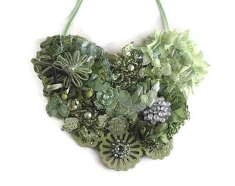 Green Bib  Floral Statement Necklace