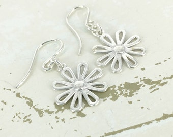 Delicate Collection - Open daisy earrings - Sterling Earrings - Mother Jewelry - Simple Jewelry