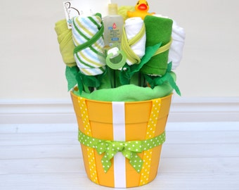 Baby Shower Gift, Baby Bath Bouquet, Flower Bouquet, New Baby Gift, Unique Gift Idea, Gender Neutral Baby Gift, Green and Yellow, Newborn