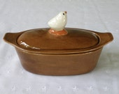 Custom Order for Tammy -Folk Art Bird Pottery Butter Boat (3 Piece) - Espresso - USA Made