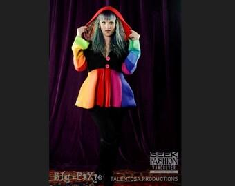 Women's Spring Rainbow Carosel Jacket, Hippie Polar Fleece Hoodie, Fitted Cinched Waist Fairy Elven Coat, Gay Price Rainbow