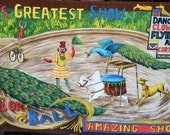 Vintage Fabric - Barkcloth Circus Poster Scene by Wesco Reltex - Peacock