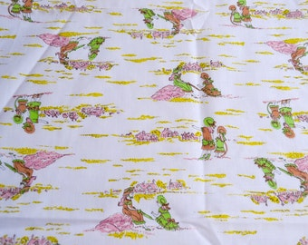 Vintage Fabric - Little Girls Playing Landscape - 44 x 44  Pink and Green