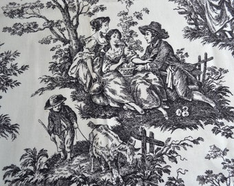 Vintage Fabric - Waverly Country Life Toile in Black and White - 55 x 46 Upholstery Drapery