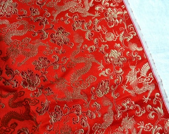 Vintage Fabric - Chinese Silk Brocade Red Dragon - 29 x 38