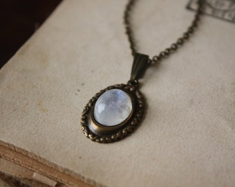 Moonstone Necklace - Brass Moonstone Necklace